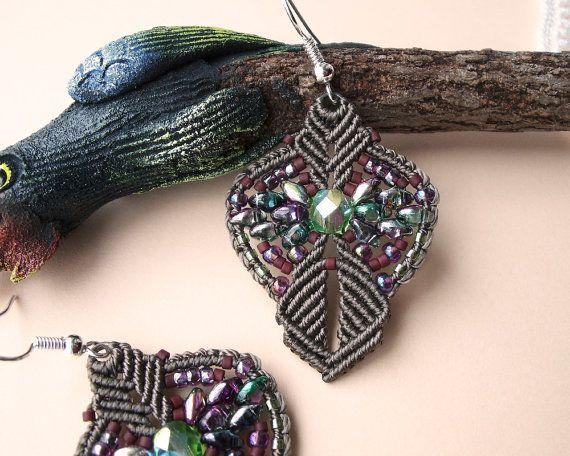 Micro macrame earrings Sepia Green Boho SuperDuo by MartaJewelry