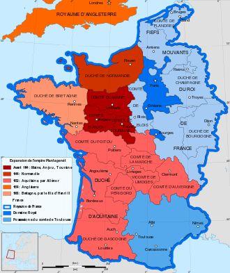 Royaume de France après le mariage avec Henri I  Plantagenêt.- Annulation du mariage avec Louis VII en mars 1152.  Elle rentre à Poitiers et manque d'être enlevée 2 fois par des nobles. Après quelques courriers avec Henri II Plantagenêt aperçu à la cour de France en 1151, le 18 mai 1152, 8 semaines après l'annulation de son 1° mariage, elle épouse à Poitiers ce jeune homme , futur roi d'Angleterre, d'une 10° d'année son cadet et qui a le même degré de parenté avec elle que Louis VII.