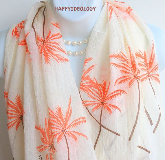 Palm Tree Infinity Scarf.Beige and Orange  by HappyIdeology