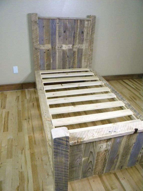 Twin bed platform bed reclaimed wood headboard twin for Recycled wood bed