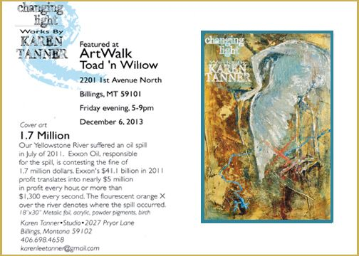 Holiday Art Walk in Downtown Billings! December 6th 5-9pm. Featured artist is Karen Tanner