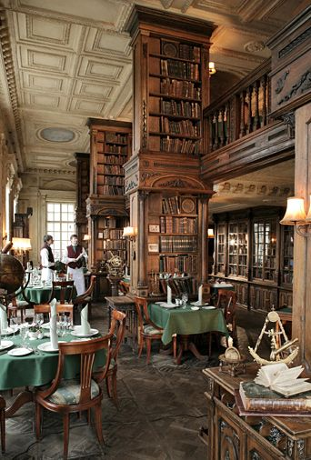 The library in Cafe Pushkin, Moscow  - It's a library with a restaurant in an old mansion!