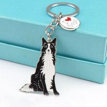 Border collie keychains Animal key ring pet dogs Tag key Keychain Jewelry men gift Metal car Key Ring best friend gifts cheap(China (Mainland))
