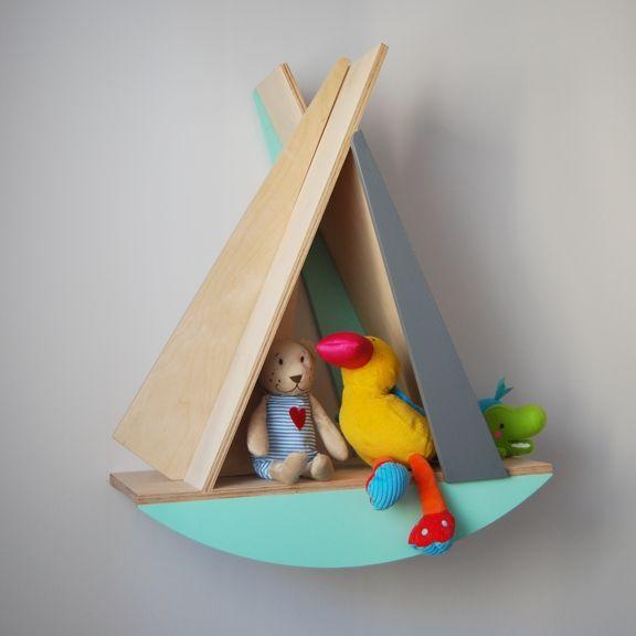 natural wooden shelf sailboat