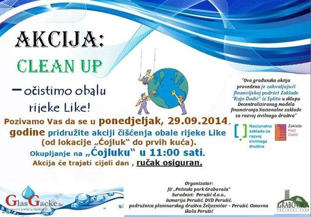 """U sklopu projekta """"CLEAN UP – očistimo obalu rijeke Like za jedan dan"""",  koja je financirala Zaklada Kajo Dadić iz Splita u sklopu Decentraliziranog modela financiranja, Nacionalne zaklade za razvoj civilnog društva, odrađene su prve aktivnosti."""