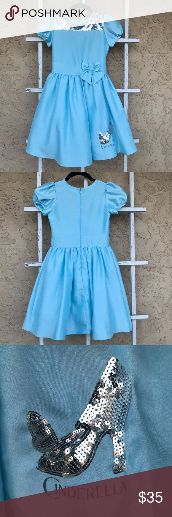 Disney Cinderella Princess Blue Dress Girl's Disney Cinderella Dress for new movie release.    Size S Disney Dresses Casual