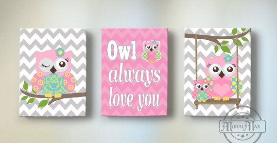 Owl Always Love You Nursery Art Trio - Set of Three Canvas Art Prints - LOVE  Chevron Owl  - Baby Girl Nursery Art, Kids Wall Art