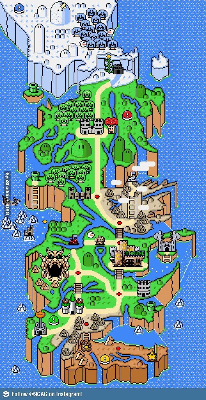 Mapa de Westeros deGame of Thrones + mapa do Super Mario World