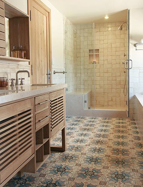 patterned cement tiles from Exquisite Surfaces - wood cabinetry - chunky shower tiles & a built in shelf.