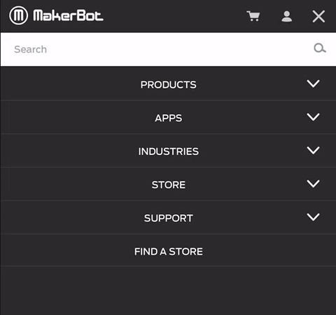 """MakerBot's website """"prints"""" the hamburger icon when you close the menu."""