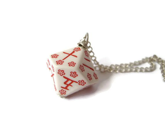 japanese necklace kanji numbers D10 dice pendant by MageStudio, $15.00