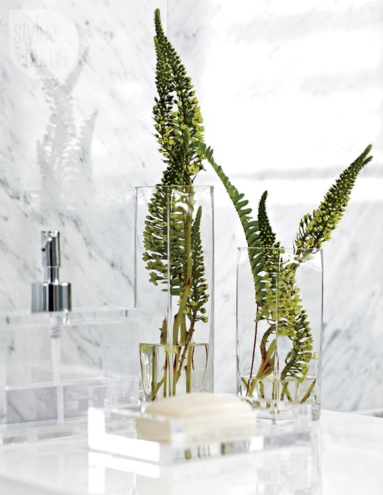 Clear Bathroom Accessories Carrara Marble And The Occasional Splash Of Green Feel Like They Could