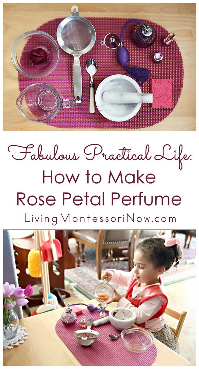 Making rose petal perfume is a perfect Montessori practical life activity and way to recycle flowers for children as young as preschoolers. Great for home or classroom. Post includes YouTube video, tutorial, resources for making rose petal perfume, and Montessori Monday linky.