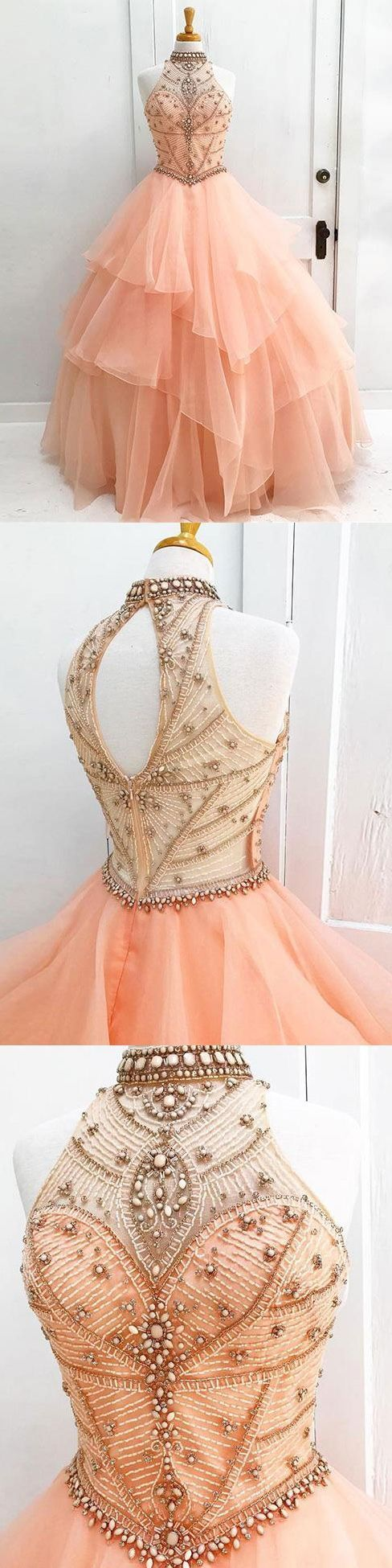 Awesome Ball Gown Halter High Neck Beaded Bodice Organza Quinceanera Dresses,BD455855 #f…
