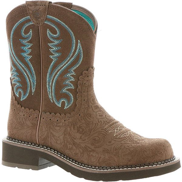 Ariat Fatbaby Heritage Women's Brown Boot 8 M ($90) ❤ liked on Polyvore featuring shoes, boots, ankle boots, brown, brown boots, brown cowgirl boots, suede boots and brown suede boots