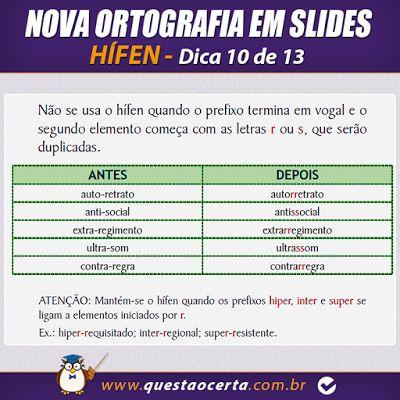 PoRtUgUêS nA TeLa: NOVA ORTOGRAFIA - Dicas 10 e 11 de 13 - Uso do Híf...                                                                                                                                                                                 Mais