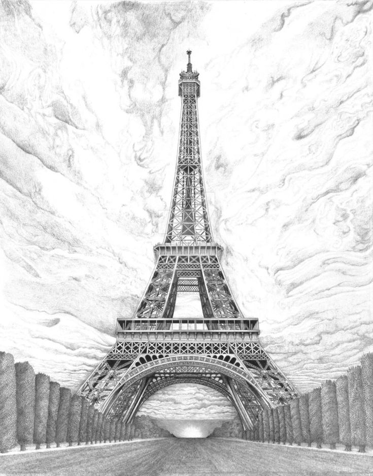 эйфелева башня картинки нарисованы карандашом конца рабочей