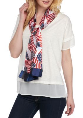 Kim Rogers Women's American Flag Scarf - Blue - One Size