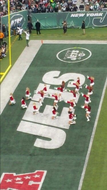 NY Jets Flight Crew www.newyorkjets.com/flight-crew at #MetLife Stadium looking like a Christmas tree.  Most sports injuries are a result of #cheerleading Stay safe. #Chiropractor #chiropractic care #physicaltherapy