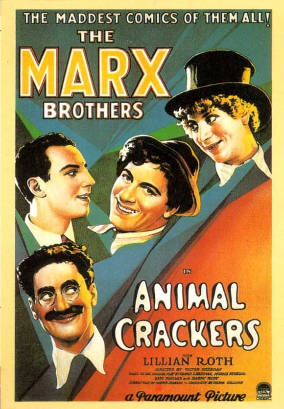 """Animal Crackers"" movie poster  Year: 1930  Cast: Marx Brothers, Lillian Roth, Margaret Dumont, Louis Sorin, Hal Thompson  Directed By: Victor Heerman"