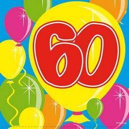 Servetten 60 jaar ballonnen -  Een pakje met 20 servetten bedrukt met ballonnetjes en het cijfer 60. Verkrijgbaar in diverse leeftijden! Afmeting: 25 x 25 cm.   www.feestartikelen.nl