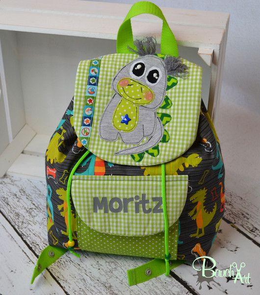 Rucksäcke - Kindergarten Rucksack Dino im Wunschdesign - ein Designerstück von BauchArt bei DaWanda