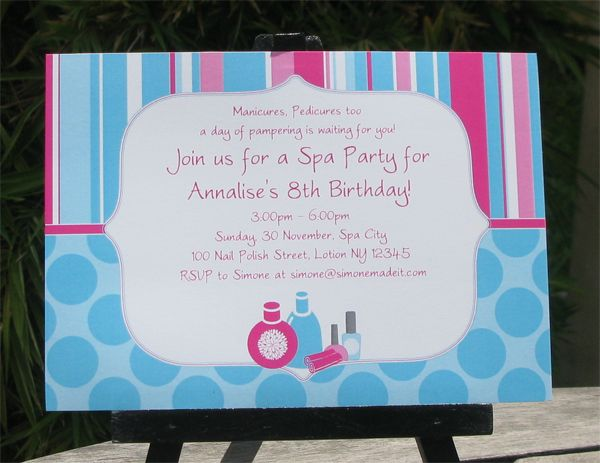 17 Best images about Little Girl Spa Party – Spa Party Invitation Ideas