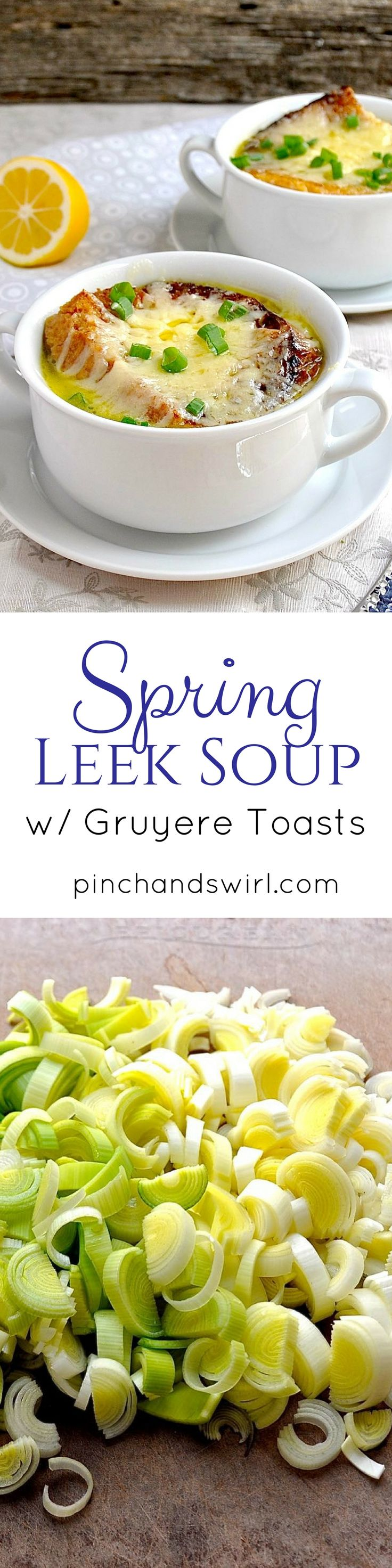 Spring Leek Soup is the perfect way to celebrate the tender leeks of spring! Think of this soup as the delicate cousin of French Onion soup. Both soups are topped with an oversized, melted cheese covered crouton, but instead of the deep, dark broth of French Onion soup, this leek soup has a light buttery broth and is prepared in a fraction of the time - 20 minutes from start to finish. via @pinchandswirl
