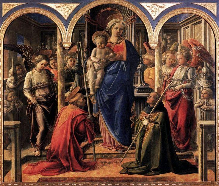 """FILIPPO LIPPI: """"Retablo Barbadori"""" o """"Madonna y el Niño con San Frediano y San Agustín"""", temple sobre tabla."""