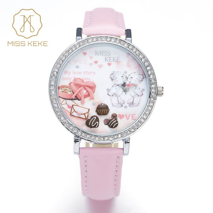awesome Relojes Mujer Miss Keke 3d Clay Cute Mini World Rhinestone Watches Ladies Girl Lovely Pink Bear Quartz Leather Wristwatches 905
