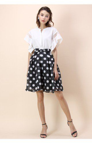 Knot the Dots A-line Midi Skirt - Retro, Indie and Unique Fashion