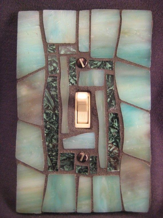 Glass mosaic light switch.