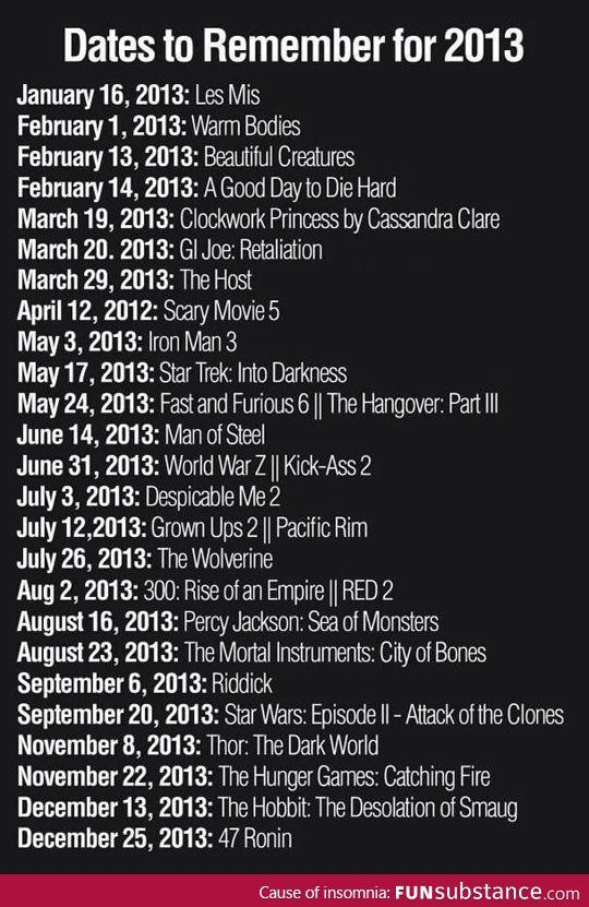 Movie Dates to Remember in 2013 There isnt a June 31st!!