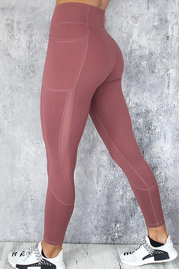 65982438e369c Women Dark-red Splicing Mesh Side High Waist Yoga Sports Leggings - L