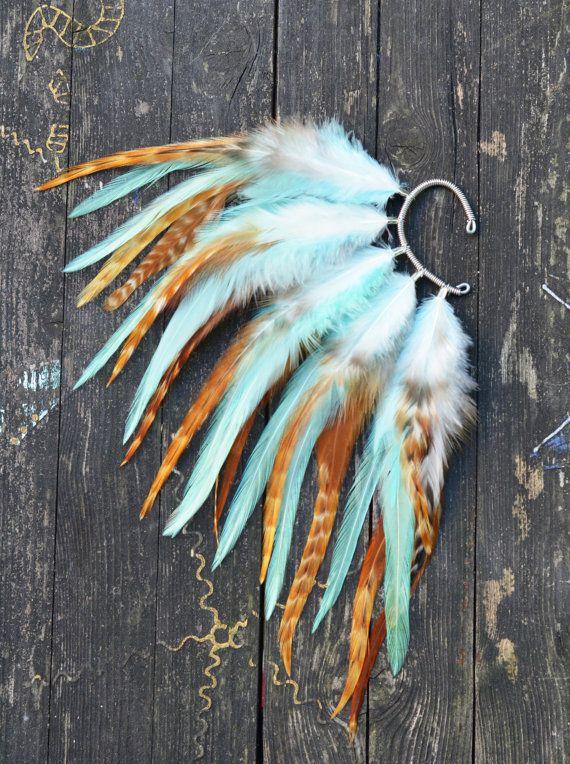 Feather Ear Cuff Autumn Sky von Njuu auf Etsy, $28.00