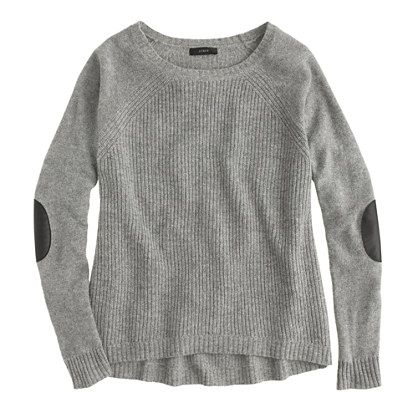 Elbow-patch sweater, J. Crew.  I LOVE LOVE LOVE elbow patches!  I wish this sweater wasn't ribbed, though, and I prefer cashmere, but it is lambswool and the patches are leather!