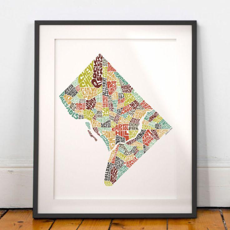 Washington DC typography map washington dc map art