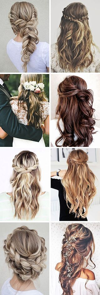 boho waterfall braids for long hair. Updo and half up and half down hairdos.