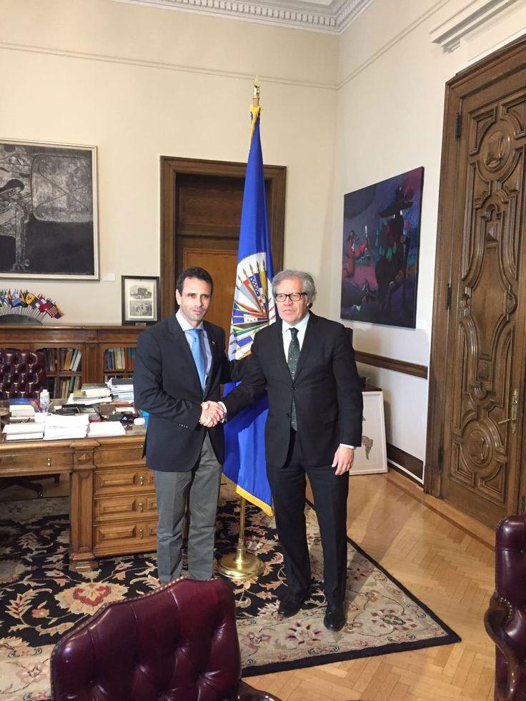 Capriles se reunió con Almagro en OEA para pedir aplicar Carta a Venezuela (foto) - http://wp.me/p7GFvM-Fee