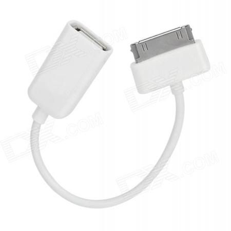 30 Pin Male to USB Female OTG Cable for Samsung Galaxy Note 10.1 GT-N8000 - White (10cm)  — 94.58 руб. —  Quantity: 1 piece - Color: White - Material: PC + ABS - Connector: Samsung 30-Pin male to USB female OTG cable - Compatible Models: Suitable for Samsung Galaxy Note 10.1 GT-N8000 / Samsung Tab 2 / P5100 - Both charging and transfer data functions - Packing list: - 1 x OTG cable (10cm)
