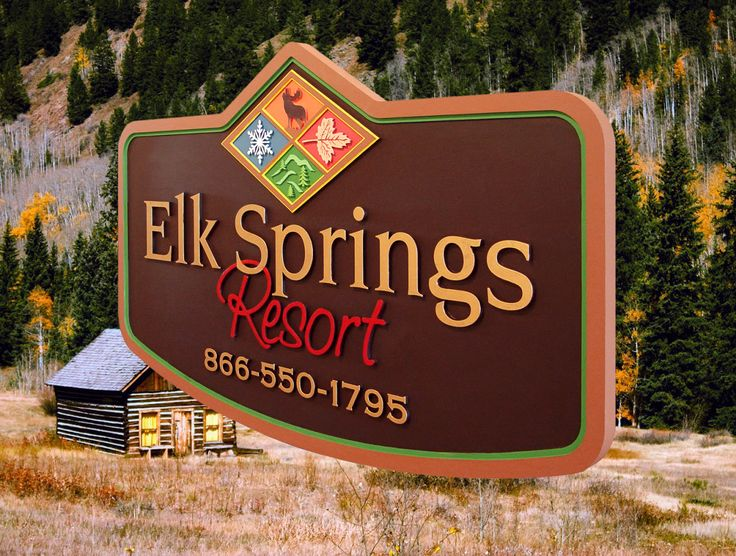 #resortsigns #businesssigns #development #builder #commercial #signage #sign Strata Sign Company Elk Springs Resort Outdoor Business Signs www.customoutdoorwoodensigns.com