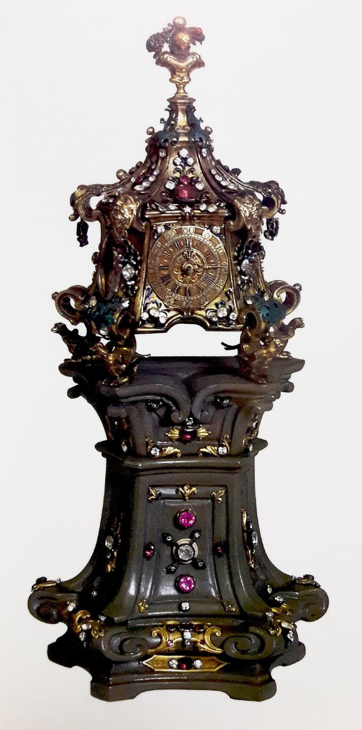 Table clock set with precious stones by Johann Heinrich Naumann (mechanism) and Johann Heinrich Köhler (case) in Dresden, 1730-1736, Skarbiec Paulinów na Jasnej Górze, offered to the Jasna Góra Monastery by Adam Kazimierz Czartoryski and Izabela Czartoryska in 1761