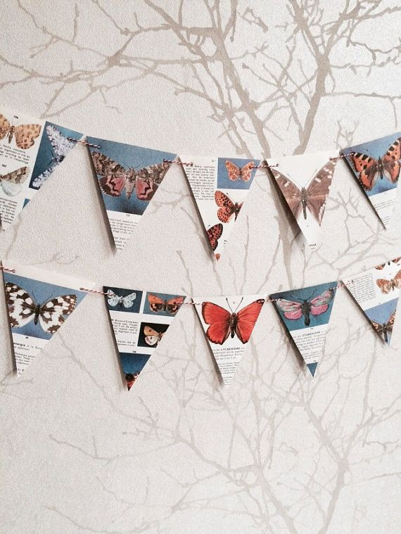 SALE: Vintage papieren vlinder slinger / slinger van