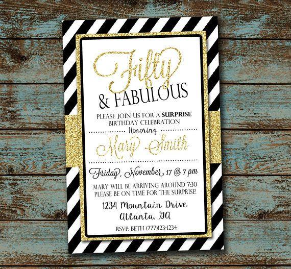 Fifty and Fabulous Birthday Invitation Fiftieth Birthday