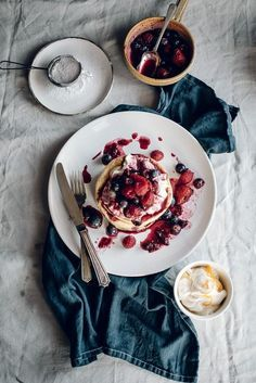 15 Masterpieces of Food Photography http://Superbcook.com Orange Blossom Pancakes with Vanilla Honey Cream  Berry Compote