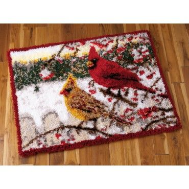 My favorite source for arts and crafts:  Winter Cardinals Latch Hook Rug Kit