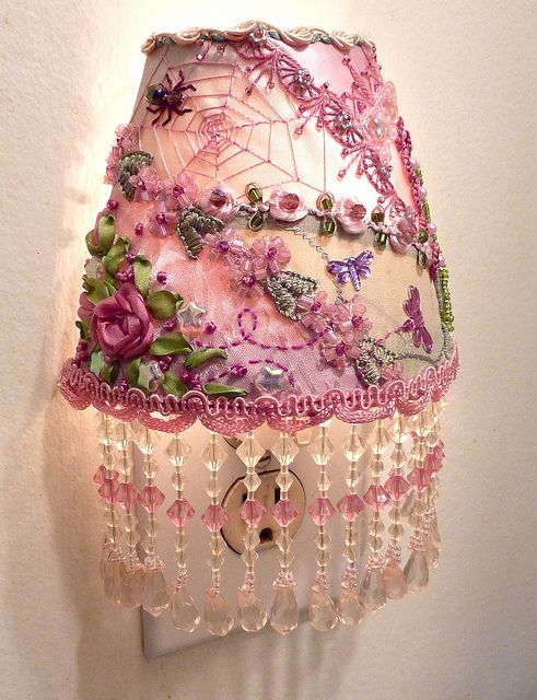 I ❤ crazy quilting, beading & ribbon embroidery . . . oh so feminine night light ~By Suzie W