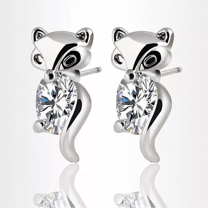 18k Earrings: Crystal Fox