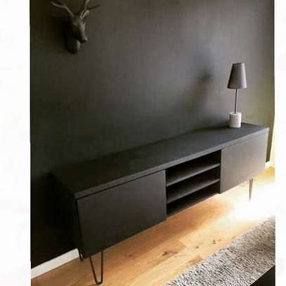 1000 ideas about meuble tv noir on pinterest cacher la for Meuble tv metal ikea