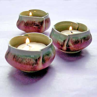 Pixie Pottery Tea Light Set | Pinch Bowls | Hand Thrown Stoneware | Handmade In Britain | Garden Lig